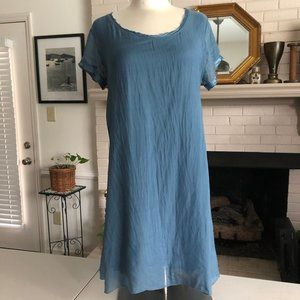 Giulia Silk Dress Blue Crochet Lace Small
